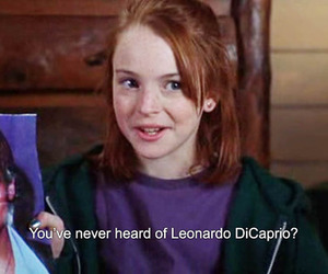 leonardo dicaprio, lindsay lohan, and movie image