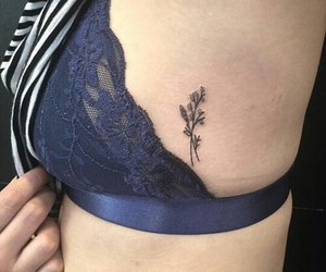 bralette, Tattoos, and flower image