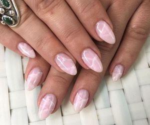 nails, rose quartz, and salt crystal nails image