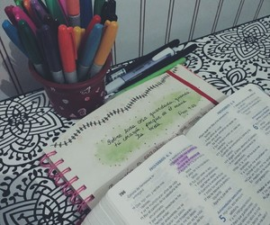 bible, desk, and planner image