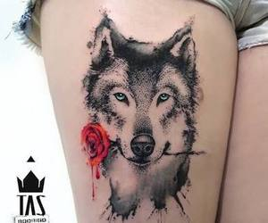 flower, husky, and tattoo image
