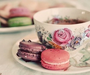 tea, macaroons, and food image