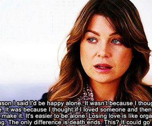 grey's anatomy, quote, and alone image