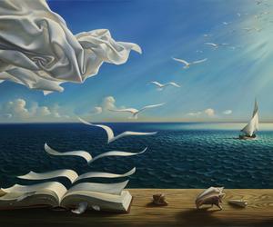 art, book, and sea image