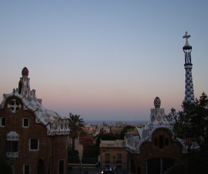 Barcelona, spain, and sunset image