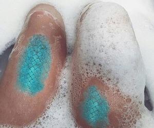 mermaid, blue, and water image