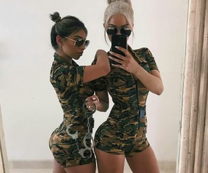 best friends, girls, and sunglasses image