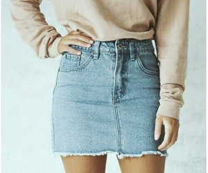 aesthetic, jean skirt, and outfit image