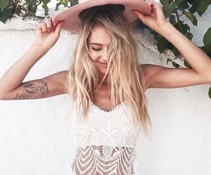 girl, hat, and tattoo image