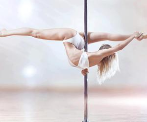 blonde, stretch, and pole image