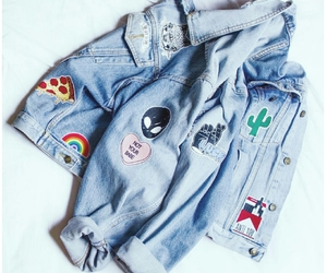 aesthetic, denim jacket, and patches image