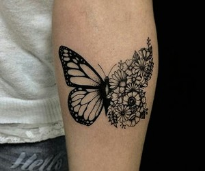 butterfly, flower, and tatto image