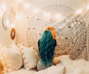 bedroom, blue hair, and boho image