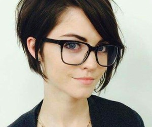 hair, girl, and glasses image