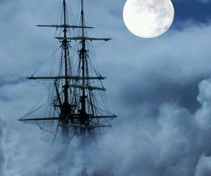 pirate, moon, and ship image