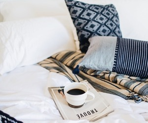 bed, coffee, and blue image
