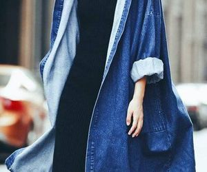 autumn, blue, and coat image