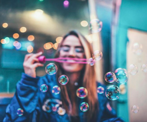 girl, photography, and bubbles image
