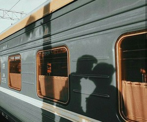 love, couple, and train image