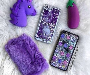 case, purple, and unicorn image