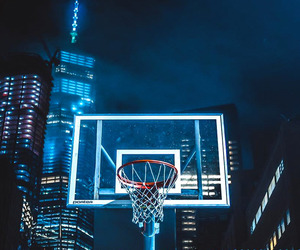 Basketball, blue, and glow image