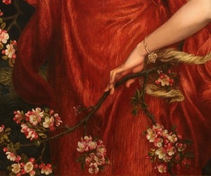 art, red, and flowers image