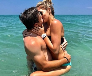 beach, couple, and kissing image