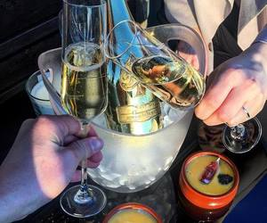 champagne, drinks, and food image