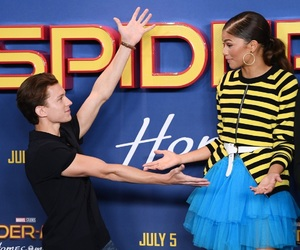 zendaya, tom holland, and spiderman image
