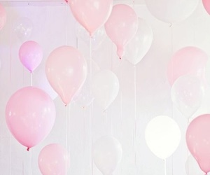 balloons, pink, and white image
