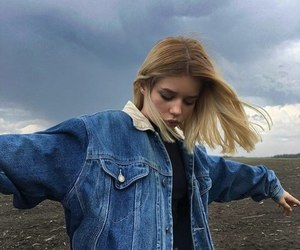 girl, blonde, and sky image