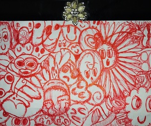 doodles, red, and drawing image