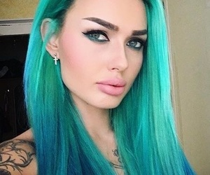 hair, turquoise, and turquoise hair image