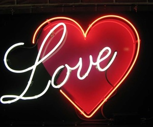 love, neon, and heart image
