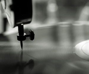 music, black and white, and gramophone image