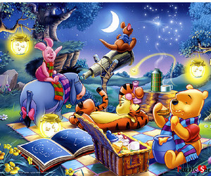 disney, night, and winnie the pooh image
