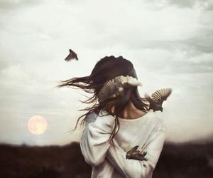 girl, bird, and moon image