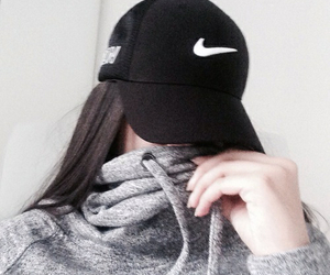 cap, nike, and black image