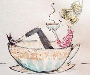 coffee, art, and girl image