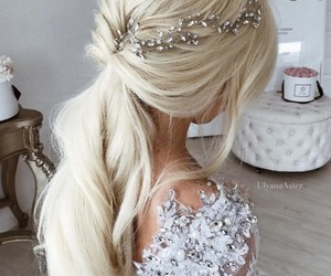 blonde, hair, and bride image