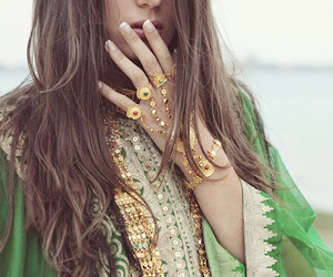 green, bohemian, and gold image