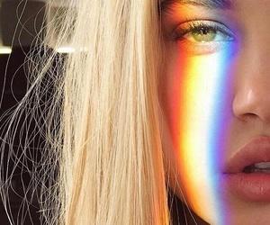 girl, rainbow, and eyes image