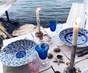 blue, candle, and dining image
