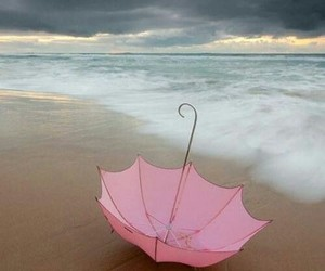 pink, umbrella, and beach image