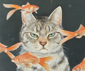 cat, fish, and wallpaper image