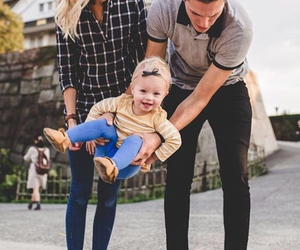 family, baby, and dad image