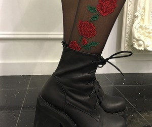 rose, black, and shoes image