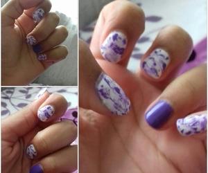 nail art, 😄, and purple image