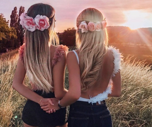 friends, flowers, and summer image