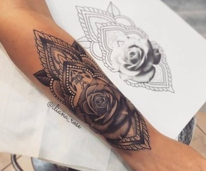 tattoo, arm, and rose image